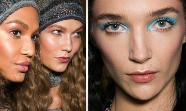 Anna SuiAlgumas modelos apareceram com um make natural - sombra, batom e blush no mesmo tom rosado. Outras desfilaram com uma sombra azul, que foi passada desde o canto interno até o externo dos olhos, indo além do côncavo.